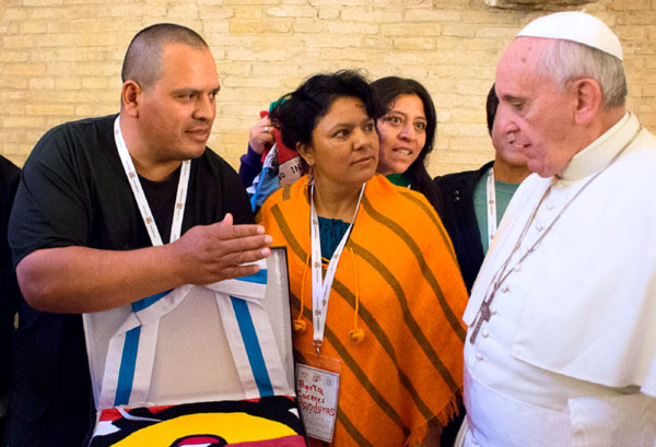 Berta Cáceres meets with Pope Francis at the Vatican on Oct. 28, 2014.