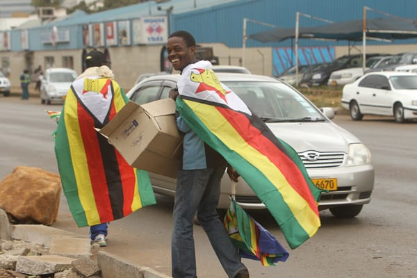 Zimbabwe, flags of peace and justice