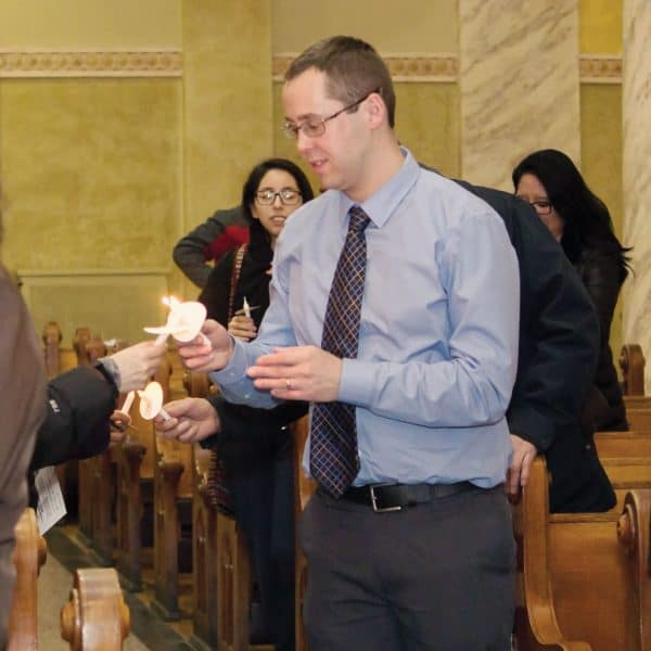 Kevin Foy, director of mission education for the Maryknoll Society's central region at prayer vigil for migrants
