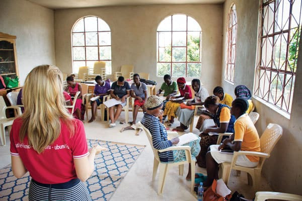 Maryknoll Lay Missioner Ashley Leen trains women and girls through weekly meetings to empower and help them. Couple Embraces Gospel Craziness in Tanzania
