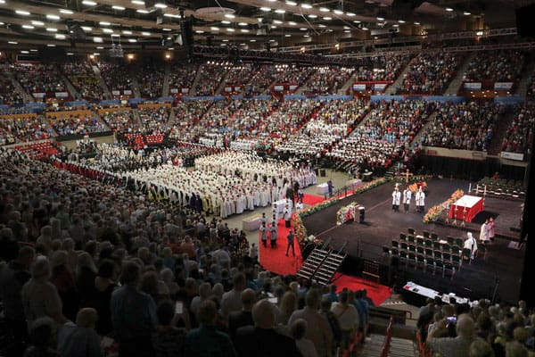 Beatification Mass in a packed Cox Convention Center to celebrate the first U.S.-born martyr beatified.
