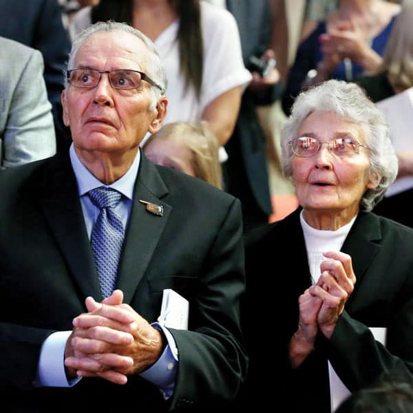 Father Stanley Rother's siblings Tom and Sister Marita Rother  attend their brother's beatification Mass in a packed Cox Convention Center.