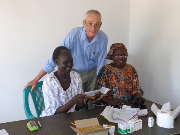 Munira Fyagos, right, with Natalina Itwari, ophthalmic clinical officer at Buluk, and Father Barth. (Photos courtesy of J. Barth)