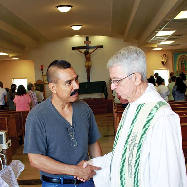 Maryknoll missioners serve at Immaculate Heart of Mary parish in Westway, Texas. Catholics visit the parish during a short-term mission trip