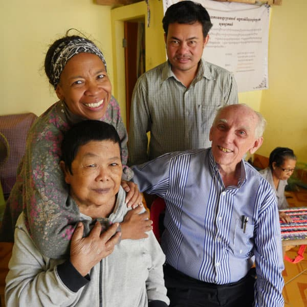 Maryknoll Cambodia: Lay Missioner Dee Dungy and Father Robert Wynne visit the elderly and their relatives in Cambodia, as part of their efforts in Anlong Kngan. (S. Sprague/Cambodia)