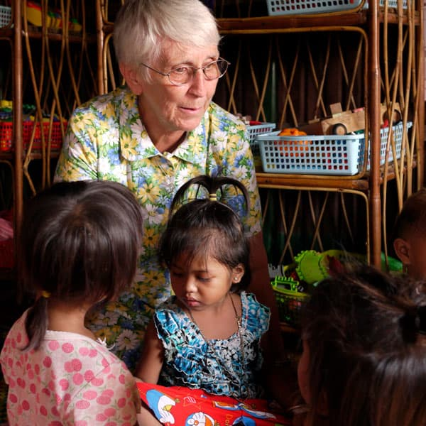 Maryknoll Cambodia: Maryknoll Sister Mary Little is the co-director of the Boeung Tum Pun Community Health and Education Project, which helps children in need to have the opportunity for a better education and future. (S. Sprague/Cambodia)