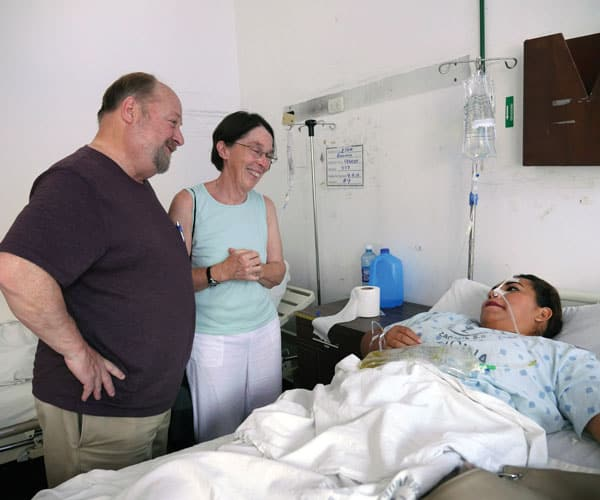 First Mission sending: Deacon Joe Peters and his wife Jan visit a hospital in El Salvador during a mission immersion trip. (S. Sprague/El Salvador)