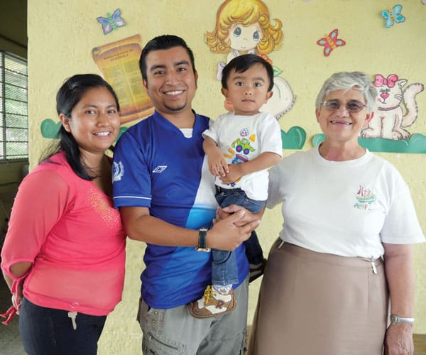 Carlos Miranda, with his wife Karla and son Andry, helps at-risk youth through a Maryknoll Affiliates project, Caminando Por La Paz, meaning Walking Toward Peace, in a gang-ridden neighborhood in Guatemala.