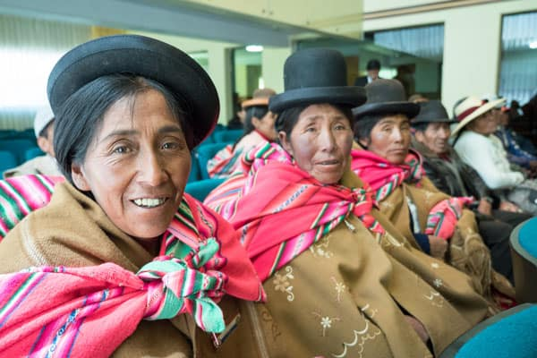 Aymara women in southern Peru participate in a workshop on protecting the environment in Puno, where a local organization won a human rights award for defending the right of these indigenous peoples. (N. Sprague/Peru)