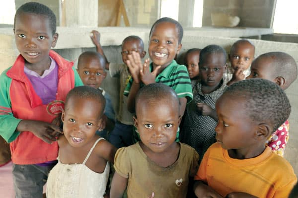 Children at Bukundi church, where there is a nursery school and feeding program that helps local families as well as members of the Watatulu tribe.