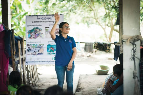 Chab Dai Coalition: A local woman trained by Chab Dai Coalition raises awareness in her community about the tragic reality of human trafficking. (Courtesy of Chab Dai Coalition/Cambodia)