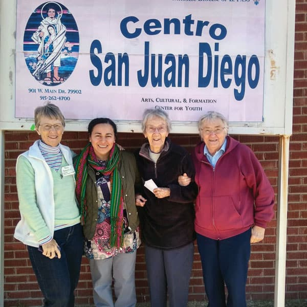 Sister Rancourt (far right) joined Maryknoll Sisters (l. to r.) Margaret Dillon, Norma Pocasangre and Mary Duffy volunteering at San Juan Diego Center, (Courtesy of Maryknoll Sisters)