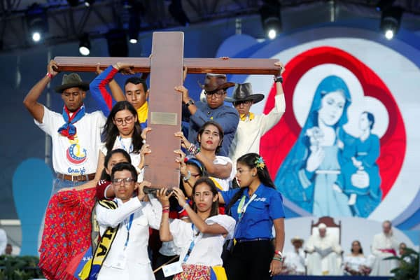 World Youth Day, 2019: Pilgrims carry the World Youth Day cross as Pope Francis joins them in the Way of the Cross at Santa Maria la Antigua Field in Panama City Jan. 25, 2019. (CNS photo/Carlos Jasso, Reuters)