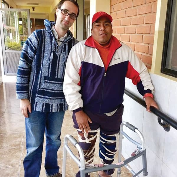 Brother Ryan Thibert assisted the physically disabled during his overseas training program in Bolivia. (Courtesy of R. Thibert/Bolivia)