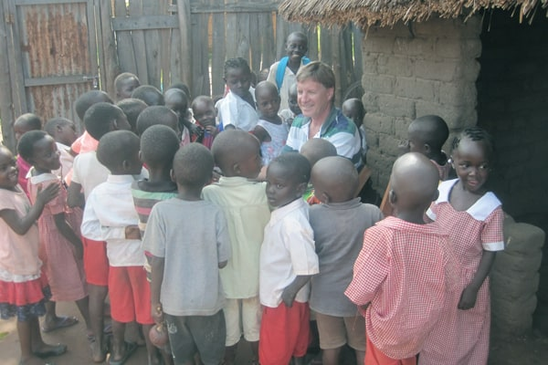 Gabe Hurrish visits tots at Tambua Nursery and Primary School, where students from Solidarity Teacher Training College practice teaching. (Courtesy of G. Hurrish/S. Sudan)