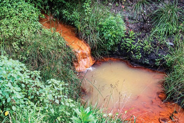 Toxic waste from mine runoff causes contaminated water to turn orange colored in Deane, Kentucky, where participants on an Appalachia immersion trip co-sponsored by the Glenmary Home Missioners and the Maryknoll Fathers and Brothers witnessed the pollution firsthand. Photo by O. Duran/U.S.