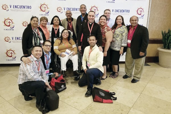 Local Fruits of the V National Encuentro: Brianda Franco (fourth from right) joins delegates from the Diocese of Providence at the National V Encuentro in Grapevine, Texas, last September (S. Cuéllar/U.S.)
