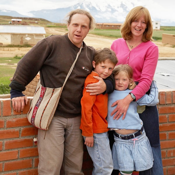 Maggie Fogarty and her husband Tim Provencal, with their children Daniel and Mary, saw the Christmas story come alive in young shepherds in Bolivia. (S. Sprague/Bolivia)