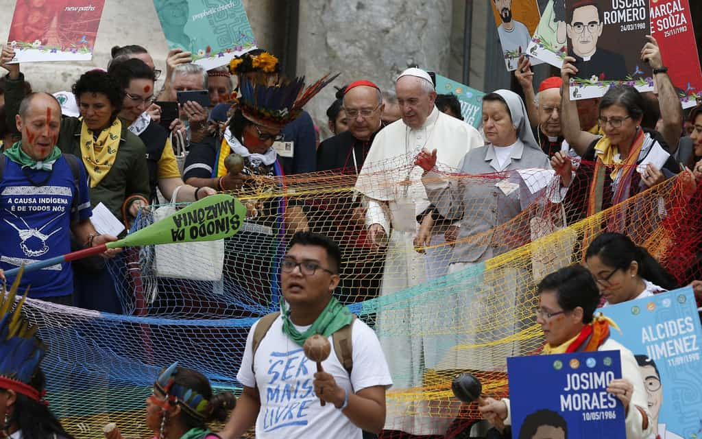 Pope Francis walks in a procession at the start of the first session of the Synod of Bishops for the Amazon at the Vatican Oct. 7, 2019.Some bishops say indigenous culture can enrich Catholic liturgy. (CNS/Paul Haring)
