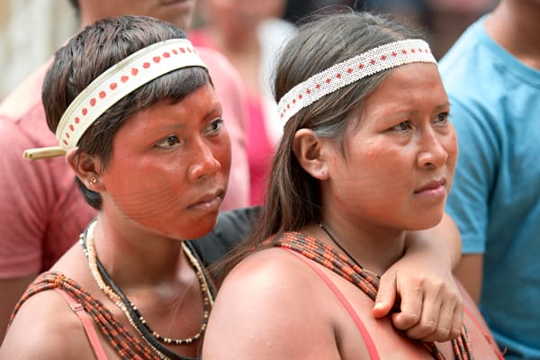 Protesting a plan that would limit their access to healthcare, indigenous women march through the streets of Atalaia do Norte in Brazil's Amazon region. The Amazon Synod at the Vatican in October considered the environmental impact on the Amazon forest and its people.(CNS/Paul Jeffrey/Brazil)
