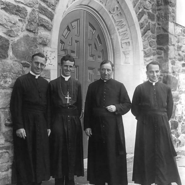 From left, Father Bernard Meyer, Bishop James E. Walsh and Fathers James A. Walsh and Francis X. Ford, who later became bishops, at Maryknoll, circa 1929. (Maryknoll Mission Archives)