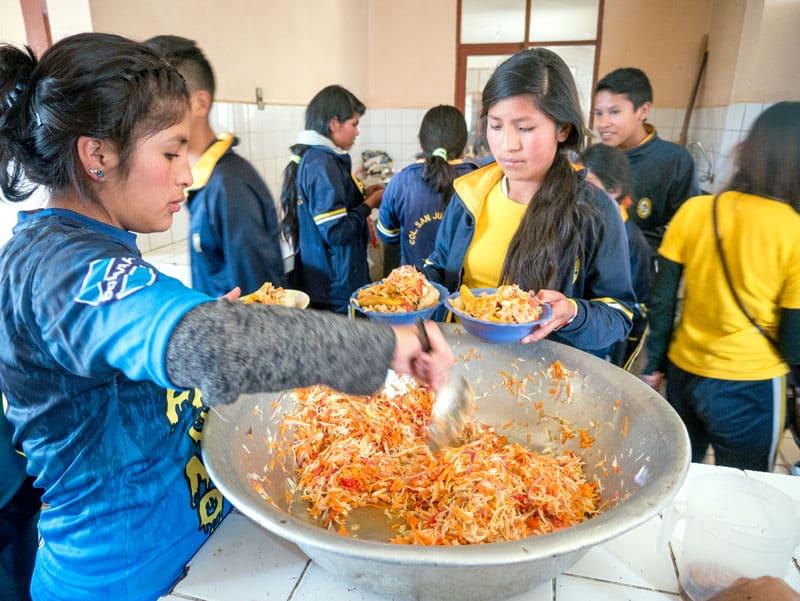 Lunch time at San Juan Bosco School. (Nile Sprague/Bolivia)