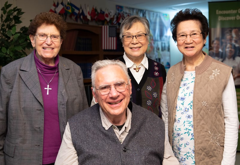 Members of the Maryknoll Affiliate chapter, who do mission in Chicago (l. to r.), Sister MaryLou Rajdl, Tom McGuire, Florence McGuire and Sister Gloria Tamayo draw energy for their lives of service by meeting regularly with other Maryknoll affiliates. (Octavio Duran/U.S.)