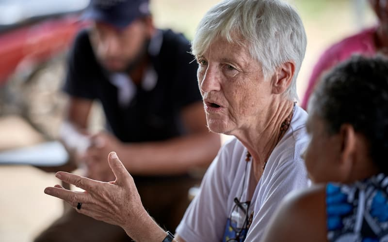 "U.S. Sister Kathryn ""Katy"" Webster, a member of the Sisters of Notre Dame de Namur from the United States, talks with farmers in the countryside near Anapu, in Brazil's northern Para state. (CNS photo/Paul Jeffrey"