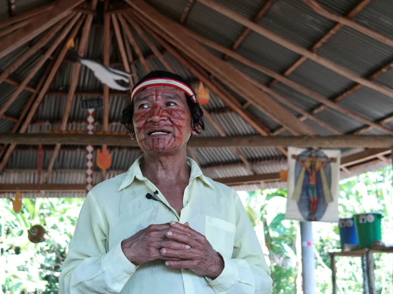 """Beloved Amazonia: Deacon Shainkiam Yampik Wananch prays in a chapel in Wijint, a village in the Peruvian Amazon, Aug. 20, 2019. In Pope Francis' postsynodal apostolic exhortation, """"Querida Amazonia,"""" released Feb. 12, 2020, the pontiff acknowledged the serious shortage of priests in remote areas of the Amazon, but he insisted not all avenues have been exhausted to address the issue. (CNS photo/Maria Cervantes, Reuters)"""