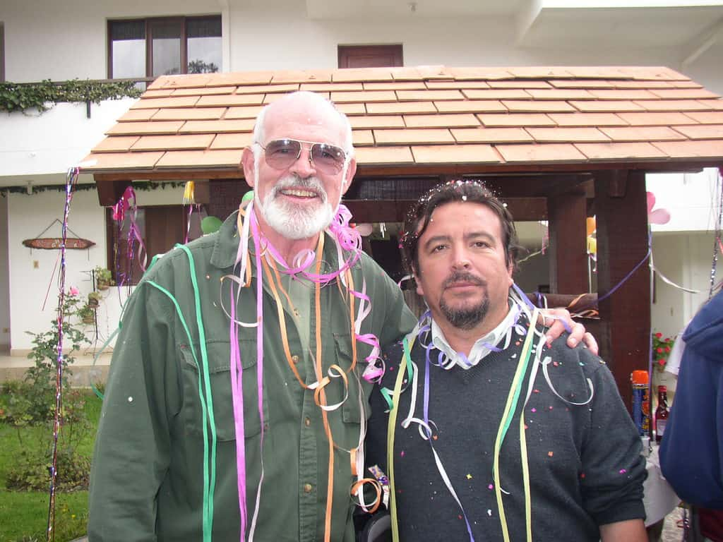 The pedagogue Alberto Cancino and Father Henehan celebrate during the closing of the missionary formation program that Cancino had facilitated in CMMAL, Bolivia, in 2006.
