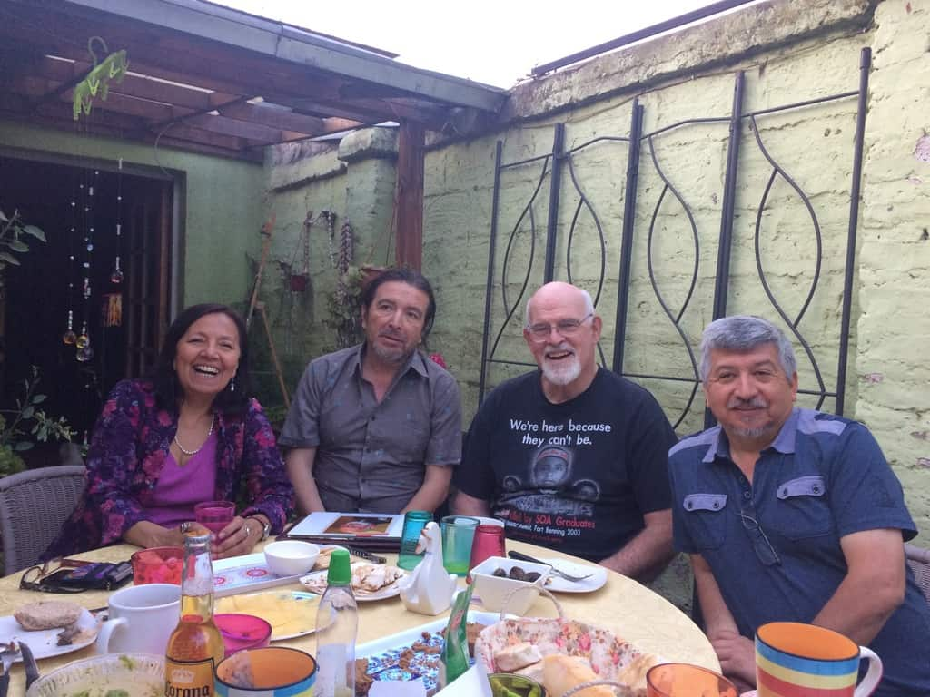 Meeting of members of the Pastoral Center team in Chile in 2018. In the photo, from left. right, Doris Muñoz, Alberto Cancino, Tomás Henehan, Tito Reyes.