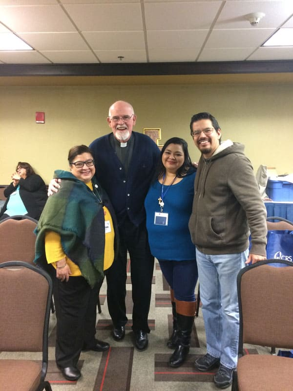 Father Henehan at the annual meeting of the LaRED National Catholic Network of Hispanic Youth Ministry with Adriana Visoso (l.), president of LaRED, and participants Dulce Hernández and Jorge Leal. Hernández and Leal, Catholic leaders from Texas, have participated in a missionary formation program facilitated by Maryknoll. (Photo courtesy of Thomas Henehan, M.M./Illinois)