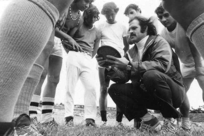 Fr. Henehan with student athletes in Guatemala, 1974. (Maryknoll Mission Archives)