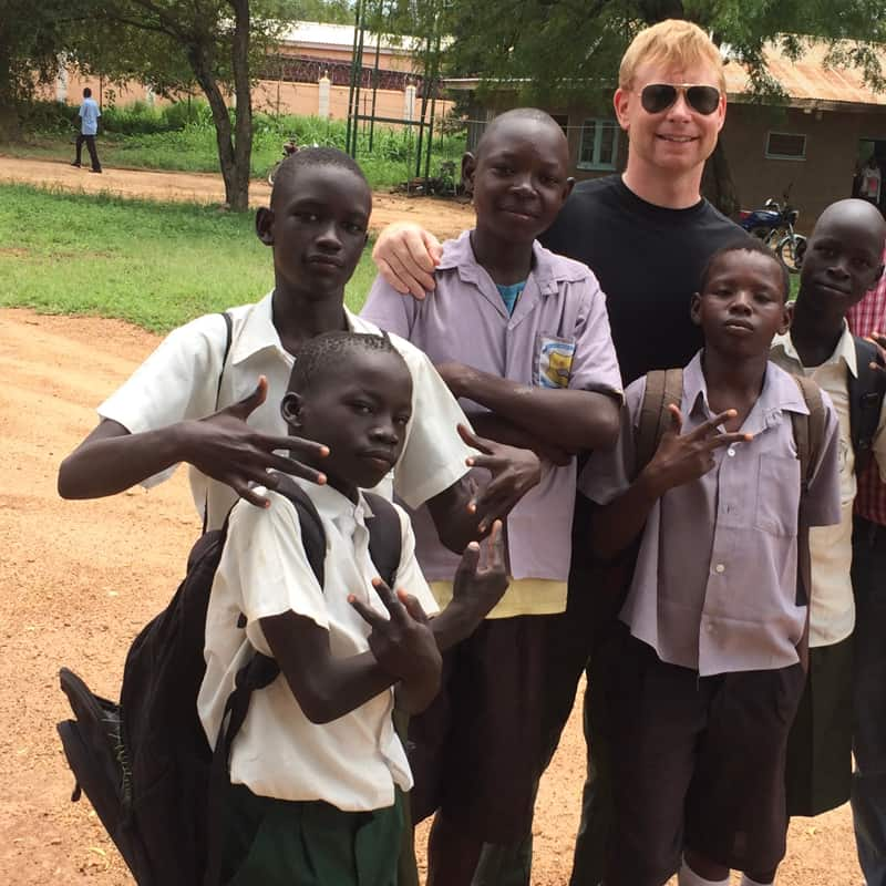 During his overseas training program in Africa, Gregory McPhee visited a school in South Sudan, where students clowned for the camera. (Courtesy of Gregory McPhee)