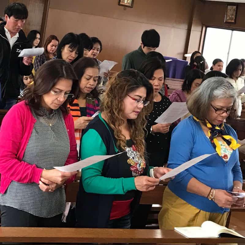 Participants of the Kalakasan Migrant Women Empowerment Center in Kawasaki, Japan, attend Mass. (Courtesy of Kalakasan Center)