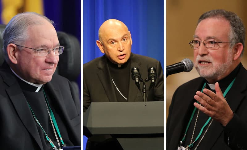 Bishops criticize immigration restrictions, say they will hurt families: Archbishop Jose H. Gomez of Los Angeles, president of the U.S. Conference of Catholic Bishops, Washington Auxiliary Bishop Mario E. Dorsonville, chairman of the USCCB Committee on Migration, and Bishop Jaime Soto of Sacramento, Calif., chairman of the board of directors of the Catholic Legal Immigration Network Inc., are seen in this composite photo. (CNS composite; photos by Bob Roller)