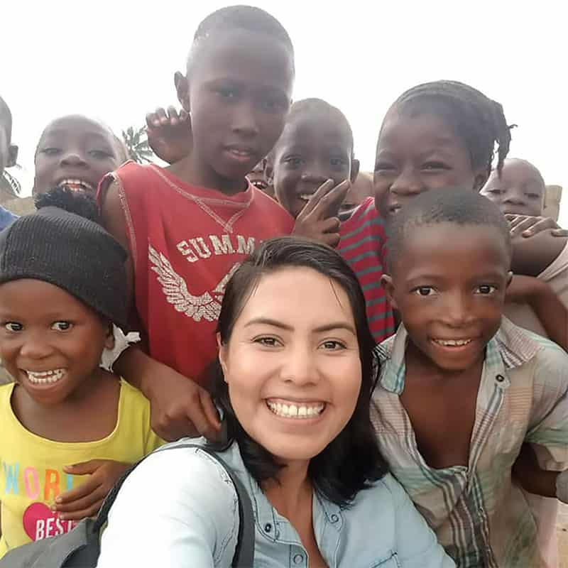 Brenda Noriega on a missionary immersion trip with Catholic Relief Services, where she visited children in Manrovia, Liberia. (Courtesy of Brenda Noriega/Liberia)