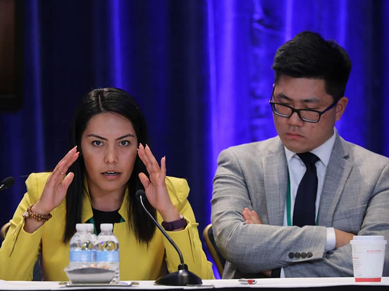 Brenda Noriega with Brian Rhude during a press conference at the United States Catholic Assembly in Baltimore. (CNS/Baltimore)