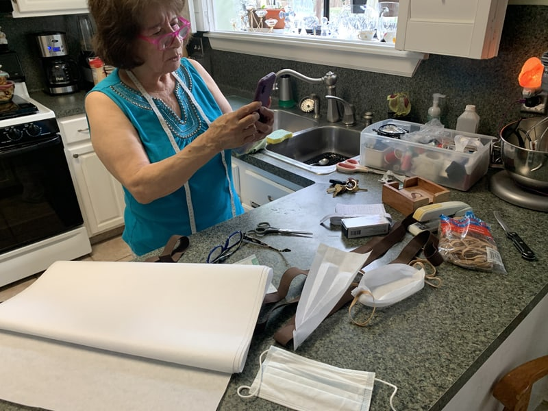 Maryknoll webinar:Rosario Gonzales, parishioner of St. Paul the Apostle Church, in Houston, Texas, makes face masks to distribute to her friends and neighbors during the pandemic. She and her daughter, son-in-law and two grandsons joined the Maryknoll webinars in April.