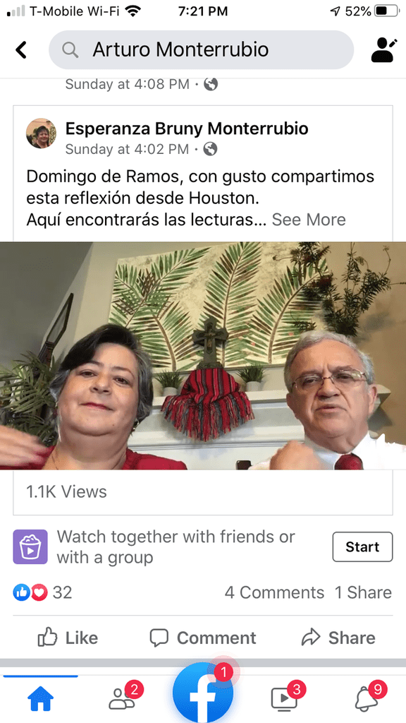 Maryknoll webinar: Maryknoll mission promoters Deacon Arturo Monterrubio and his wife Esperanza share a reflection on Palm Sunday with their Facebook followers from their home in Houston, Texas.