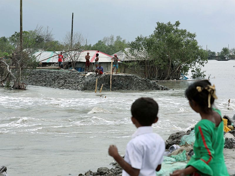 A coastal area is seen flooded after the embankment is destroyed following Cyclone Amphan's landfall in Satkhira, Bangladesh, May 21, 2020. (CNS photo/Km Asad, Reuters)