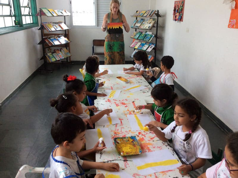 Brazil environmental impact: In the art classes she teaches to children from low-income families, Claire Stewart reuses items from São Paulo's ubiquitous trash. She also teaches many other environmental lessons.