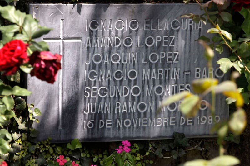 This file photo taken at Central American University in San Salvador, El Salvador, shows a memorial bearing the names of six Jesuits that Inocente Orlando Montano is accused of massacring in 1989 during El Salvador's civil war. (CNS photo/Luis Galdamez, Reuters)
