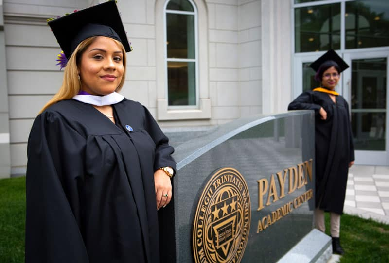 "Brenda and Yarely -- two ""Dreamers"" posing for a photo before their 2018 graduation from Trinity Washington University -- consider themselves symbols of the Deferred Action for Childhood Arrivals program, which provides legal protections and work authorization to immigrants brought to the U.S. as children by their parents without legal documents. On June 18, 2020, the U.S. Supreme Court handed down a 5-4 ruling rejecting President Donald Trump's executive order to cancel DACA. (CNS photo/Chaz Muth)"