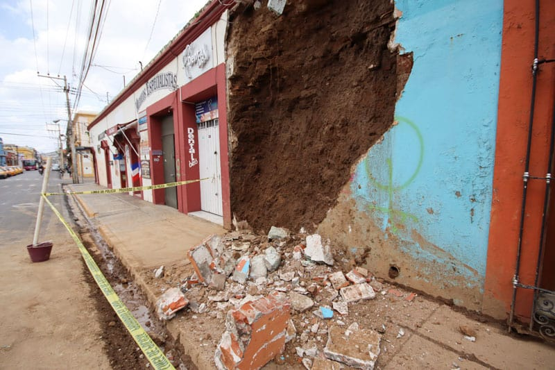 A damaged building is seen in Oaxaca, Mexico, June 23, 2020, following an earthquake. The quake struck as COVID-19 cases are increasing and people are wary of going to the hospital. (CNS photo/Jorge Luis Plata, Reuters)