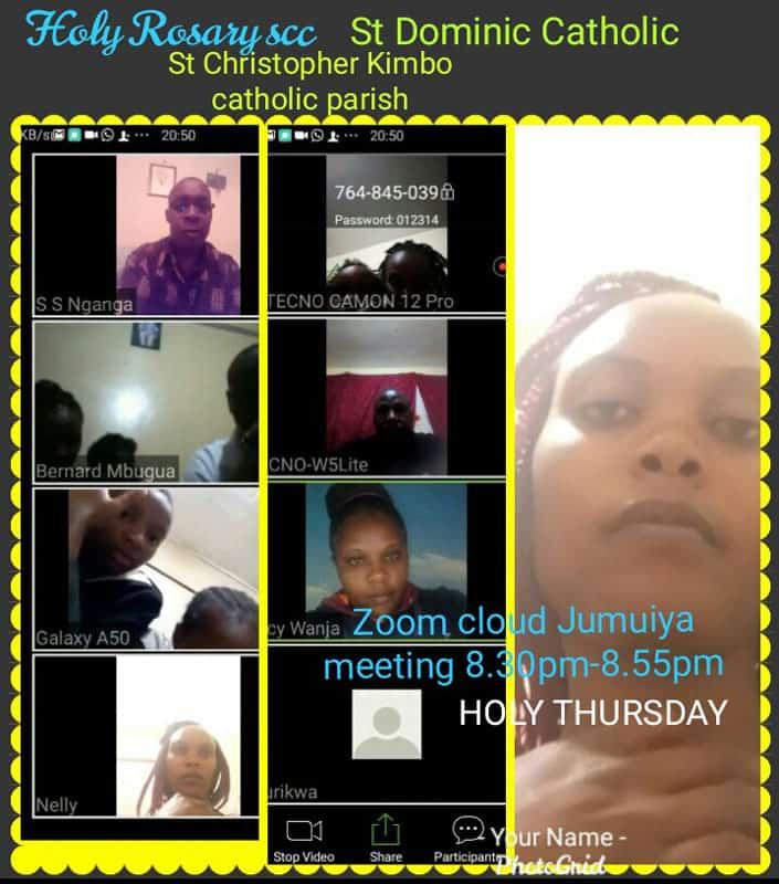 Screenshot of Holy Rosary Small Christian Community Zoom meeting. (Courtesy of Joseph Healey/Kenya)