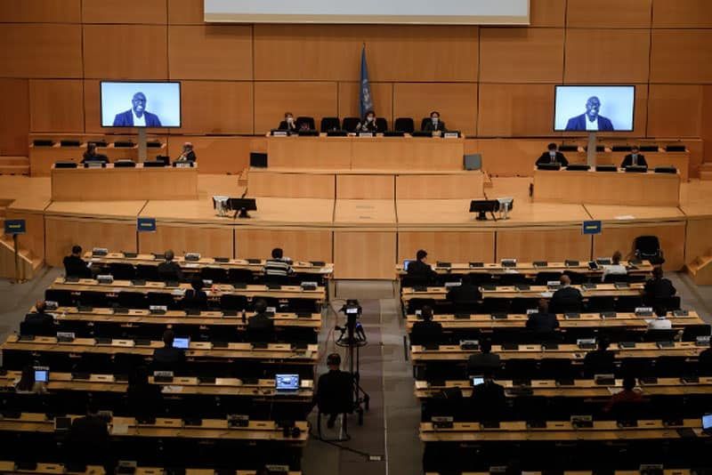 don't call me kalar campaign - George Floyd's brother Philonise is seen on a TV screen during his speech in a debate on systemic racism in the US and beyond at the Human Rights Council in Geneva on June 17. (Photo: Fabrice Coffrini/AFP