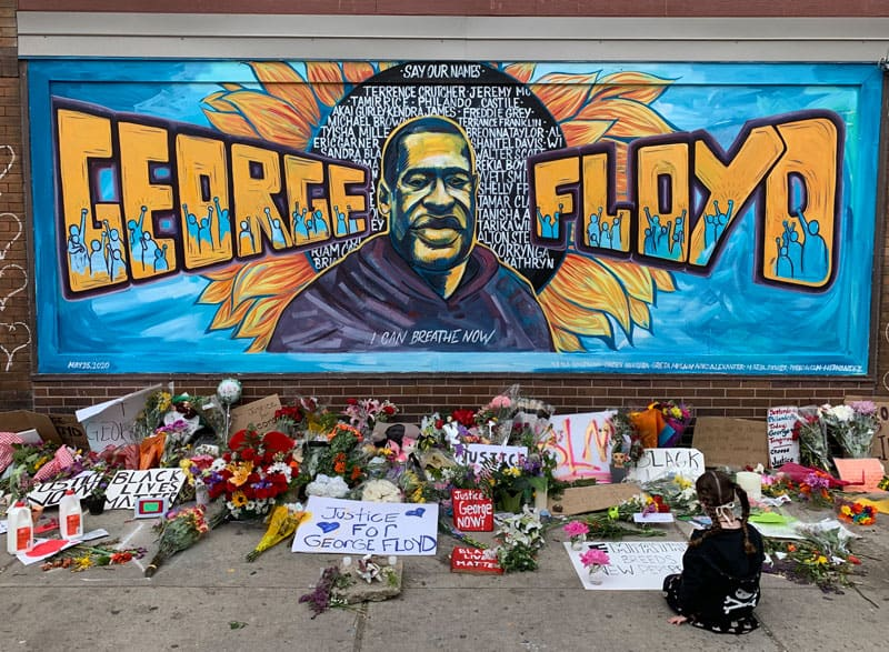 Mural calls all, including a little girl, to remember and pray for George Floyd and all victims of police brutality. (Greg Darr/U.S.)